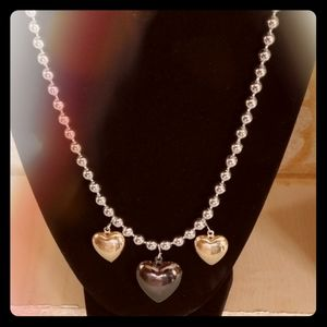 Three Heart necklace silver and gold
